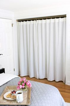 Replacing Bi Fold Closet Doors With Curtains Our Makeover