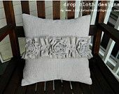 Ruffle & Rosette Drop Cloth Pillow - Rustic, simple, country  - cute for wedding