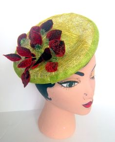 Tuft Green Sinamay Tilt Hat Saucer Headpiece by ChefBizzaro, $120.00 (love, love, love, love, love)