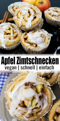 Vegane Apfel-Zimtschnecken Super delicious and simple recipe for vegan apple cinnamon buns. One of my favorite baking recipes! Baking vegan can be so easy! You can find more vegan recipes at veg Desserts Végétaliens, Vegan Dessert Recipes, Vegan Breakfast Recipes, Delicious Vegan Recipes, Vegan Baking Recipes, Vegan Sweets, Easy Recipes, Healthy Recipes, Apple Cinnamon Rolls