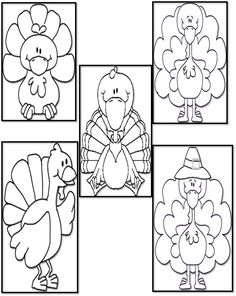"""Stick Puppets for Song/Poem, """"Five Fat Turkeys"""""""