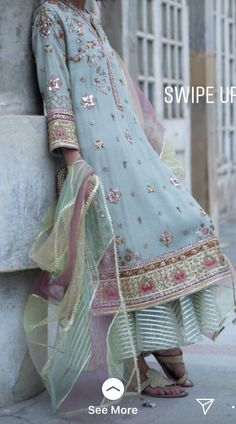 Ankle-Length Print Three-Quarter Sleeve Pullover Regular Dress Material: Polyester Silhouette: A-Line Dress Length: Ankle-Length Sleeve Length: Three-Quarter Sleeve Sleeve Type: Regular Closure:. Pakistani Couture, Pakistani Bridal Dresses, Pakistani Outfits, Indian Dresses, Shadi Dresses, Indian Suits, Indian Wear, Punjabi Suits, Chandigarh