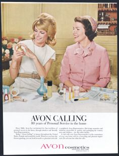"This vintage ad from 1966 was part of the ""Ding Dong, Avon Calling"" campaign, one of the longest and most successful advertising campaigns in history.  Shop and browse my online store at www.youravon.com/kristyconway"