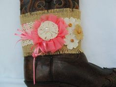 Shabby Country Boot Bling, Western Boot Bracelet, Peach and Burlap Boot Bling, Western Boot Accessory, Cowgirl Boot Bracelet, Shabby Country by Louisefashionjewelry on Etsy