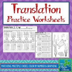 This product provides practice with translations.  Students will have an opportunity to define translations in their own words.  They are guided to explain what happens when a translation is completed and to explain whether or not the images are congruent to each other.  One section has students match five graphs of pre-images/images with the correct coordinate notation.