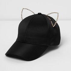 River Island Black embellished kitten ears cap (575 EGP) ❤ liked on Polyvore featuring accessories, hats, black, women, embellished hats, river island hat, peaked cap, river island and cap hats