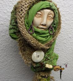 A helpful Green Kitchen Witch  Assemblage Art doll by awesomeart