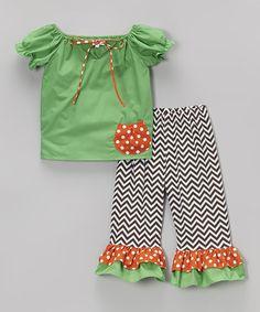 Loving this Green Pocket Tunic & Chevron Leggings - Infant, Toddler & Girls on #zulily! #zulilyfinds