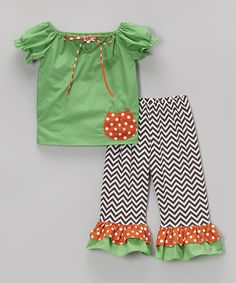 Loving this Green Pocket Tunic & Chevron Leggings - Infant, Toddler & Girls on #zulily! #zulilyfinds