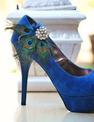 Wedding Peacock Shoe Clips. Something Navy Blue. Custom made colors! http://sofisticata.etsy.com