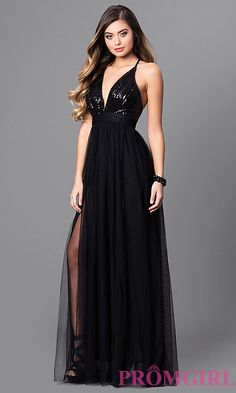67518018e2c Long Prom Dress with Low V-Neck and Adjustable Straps