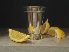BoldBrush Painting Competition Winner - September 2015   Lemon Wedges and Silver Cup by Susan Paterson