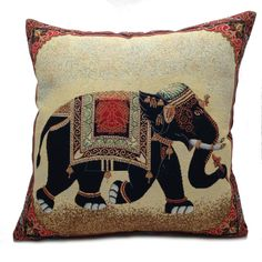 New Tapestry Indian Elephant Cushion Cover, 17 x 17 Made in UK