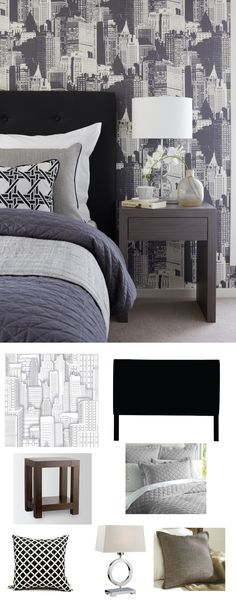 Skyscrapers as wallpaper set the perfect palette in this bedroom.