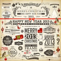 Vintage Christmas and New Year 2013 Ornaments vector 01 - Vector Frames & Borders free download