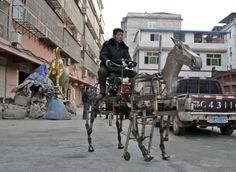 Su Daocheng's gas-powered robotic horse was built upon a Go Kart motor, which powers four spring-loaded legs.