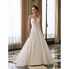 Dreses A-line V-neck Court Train Lace  Wedding Dress – USD $ 349.99