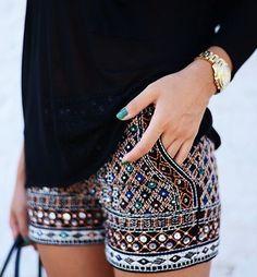 American hippie Bohemian style shorts