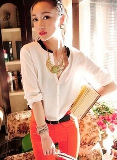 Fashion V-collar Long Sleeve All-match  -  on @ClozetteCo