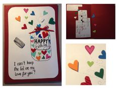 Geburtstagskarte Liebe. Birthday Card Love. I can't keep the lid on my love for you. Glas. Liebe. Herzchen