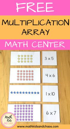 Grab this free multiplication array matching activity for your next math center! This fun math Multiplication Activities, Fun Math Activities, Math Resources, Math Math, Math Fractions, Math Worksheets, Math Games, Maths, 10 Picture