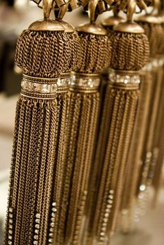 Ann Taylor jewelry - the tassel is very popular right now♥ this one in gold Or Noir, Window Treatments Living Room, Deco Boheme, Color Dorado, Color Plata, Passementerie, Wood Blinds, Shades Of Gold, Drapes Curtains