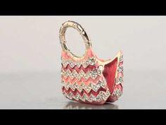 Peachy Handbag Faberge style Trinket Box by Keren Kopal Swarovski Crystal - YouTube