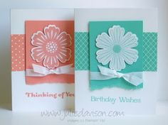 handmade cards fromJulie's Stamping Spot  ... would make a great notecard set with more colors ... each card white plus on color ... formula: stamped. punched & popped flower on torn bottom cardstock rectangle with knotted ribbon ... band of printed paper with white lines on the color ... stamped sentiment in the color ... great design ... Stampin' Up! products make the color coordination easy ...