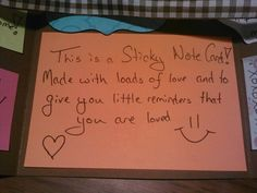 Sticky note card main note