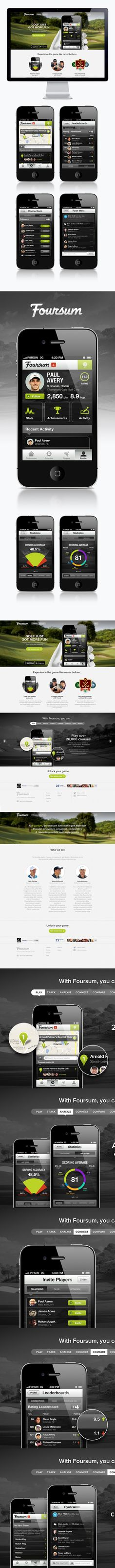 Foursum Golf by Moosesyrup , via Behance *** Full product, mobile and web design for Foursum Golf. Foursum Golf by Moosesyrup , via Behance *** Full product, mobile and web design for Foursum Golf. Mobile Web Design, Web Ui Design, Web Layout, Apps, Ui Design Inspiration, Ui Web, User Interface Design, Interactive Design, Iphone
