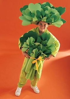 Easy homemade kids' Halloween costumes will make your little fairies or rock stars the talk of the town. These speedy Halloween costumes are perfect for little trick-or-treaters who need disguises in a flash. Food Costumes, Dress Up Costumes, Diy Costumes, Costume Ideas, Awesome Costumes, Costume Fruit, Broccoli Costume, Nutrition Month Costume, Vegetable Costumes