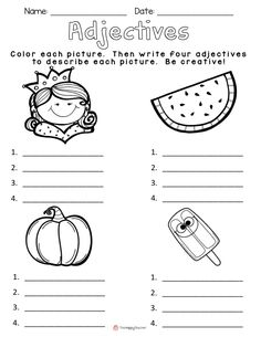 Today I& going to share with you one of my favorite lessons to teach!It& the HOOK I use to begin our unit on adjectives.I gather my kiddos on the carpet, and show them my brown paper bag. Adjectives Activities, Grammar Activities, Teaching Grammar, Grammar Worksheets, Teaching Writing, Student Teaching, Teaching English, Writing Curriculum, Writing Prompts