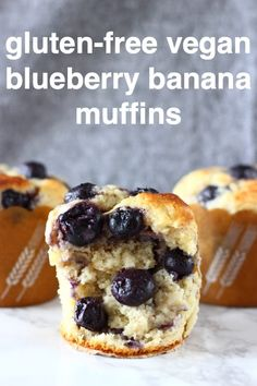 Vegan Blueberry Banana Muffins are moist and fluffy, sweet and fruity, and free from sugar! They make a great healthier breakfast, dessert or snack! Dairy-free, egg-free and refined sugar free. via Vegan Blueberry Banana Muffins are moist an. Gluten Free Blueberry Muffins, Banana Blueberry Muffins, Banana Bread Muffins, Vegan Blueberry, Blueberry Breakfast, Vegan Gluten Free Desserts, Vegan Snacks, Gluten Free Recipes, Vegan Recipes