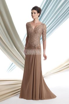 Chiffon Brush Train A-line V-neck Half Sleeve Low Back Lace Evening Dress