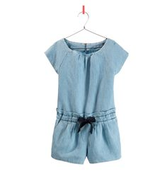 DENIM OVERALL WITH BOW - Dresses - Girl - Kids - ZARA United Kingdom ss13