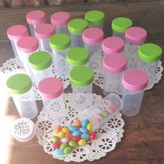 20 Tube JAR RX Container Pink Lime Cap Pill Bottle Party Favor 3814 DecoJars USA #DecoJars
