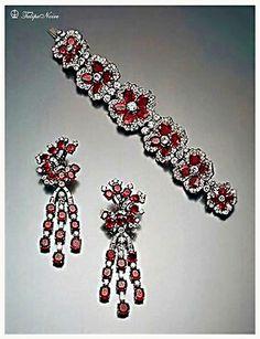 Empress Soraya's  Ruby & Diamond In Bracelet & Ear Clips
