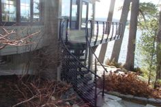 Curved cable railing stairs.