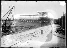 Comiskey Park under construction, c.1910. This original park stood at 35th and Shields. The current ballpark was built on the other side of 35th street. What made this park unusual was that it was fireproof, built totally from concrete and steel.
