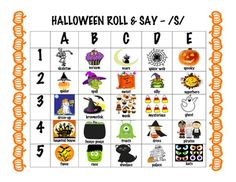 Free! Halloween articulation dice game sounds included: -/th, r, s, z, sh, ch, j, l