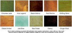 Acid Stain Color Chart - DIY Concrete Stain for Patio