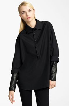 So fabulous! Must have: Christopher Kane Leather Sleeve Poplin Tunic