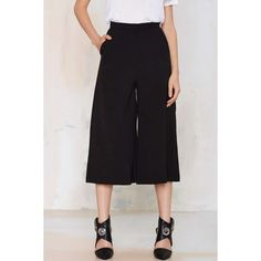 Last Call Culottes ($34) via Polyvore featuring shorts, black, pocket shorts, black shorts, culottes shorts and black culottes