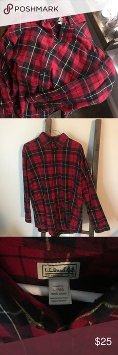Large L.L. Bean Flannel Large L.L. Bean Flannel with the classic red and black pattern. Worn just once or twice. Ready for you to channel that inner lumberjack and start chopping some wood! L.L. Bean Shirts Casual Button Down Shirts