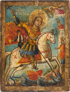 Religious Icons, Religious Art, Saint George And The Dragon, Russian Icons, Byzantine Art, Medieval Knight, Catholic Art, Orthodox Icons, Christian Art