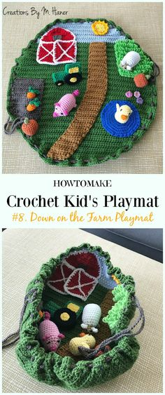 Crochet Down on the Farm Playmat Free Crochet Pattern - #Crochet Kids #Playmat Free Patterns Kids Gifts