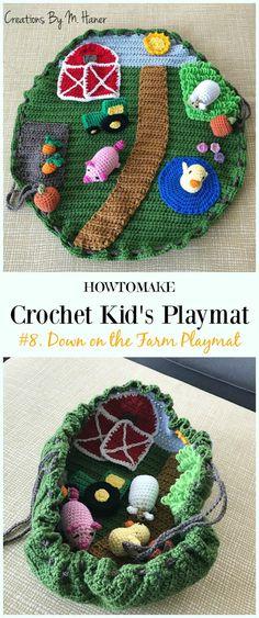 Crochet Down on the Farm Playmat Free Crochet Pattern - Kids Free Patterns Kids Gifts Kid's Playmat Crochet Patterns: Outdoor Play Mat Blanket Gifts for both girls and boys, crochet farm playmat, crochet car track play mat Beau Crochet, Crochet Mignon, Crochet Car, Crochet Baby Toys, Crochet Amigurumi, Crochet Gifts, Cute Crochet, Crochet For Kids, Crochet Dolls
