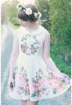 Floral Painting Peter Pan Collar Whole Lace Dress