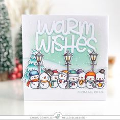 Warm Wishes from the Frosty Littles with Chris Warm Wishes from the Frosty Littles with Chris Card Tags, I Card, Watercolor Christmas Tree, Snowman Cards, Card Making Inspiration, Winter Cards, Christmas Tag, Xmas Cards, Blue Bird