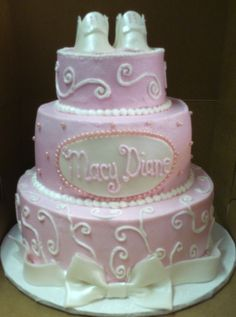 3 tier baby shower cakes for girls | pink white baby booties cake 3 tier for a baby shower iced in bc and ...
